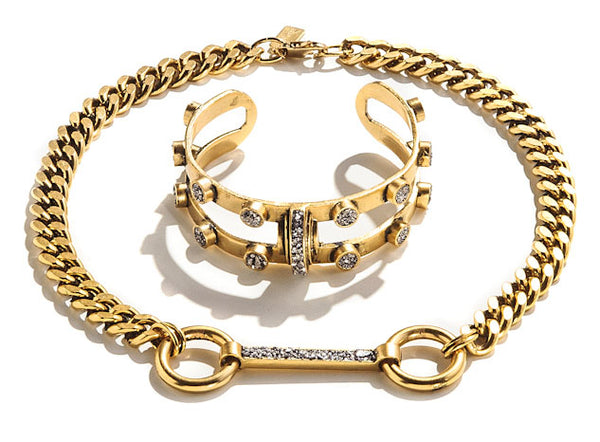 STUDDED CRESCENT CUFF / BRIDLE CHAIN NECKLACE