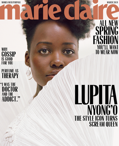 Lupita Nyong'o wears Lady Grey Earrings on the cover of Marie Claire Magazine