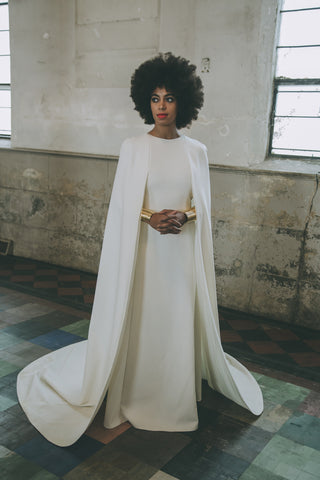 Solange wearing custom Lady Grey Jewelry cuffs at her wedding by Jill Martinelli and Sabine Le Guyader