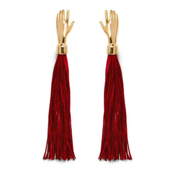 Hand Silk Tassel Earring in Crimson