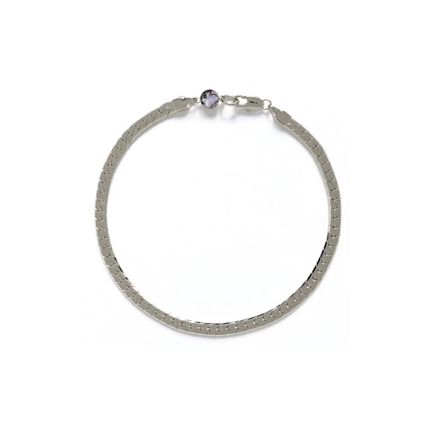 Herringbone Bracelet/Anklet in Rhodium