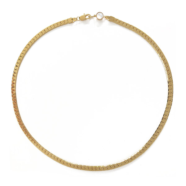 Herringbone Necklace in Gold