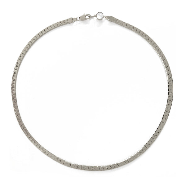 Herringbone Necklace in Rhodium
