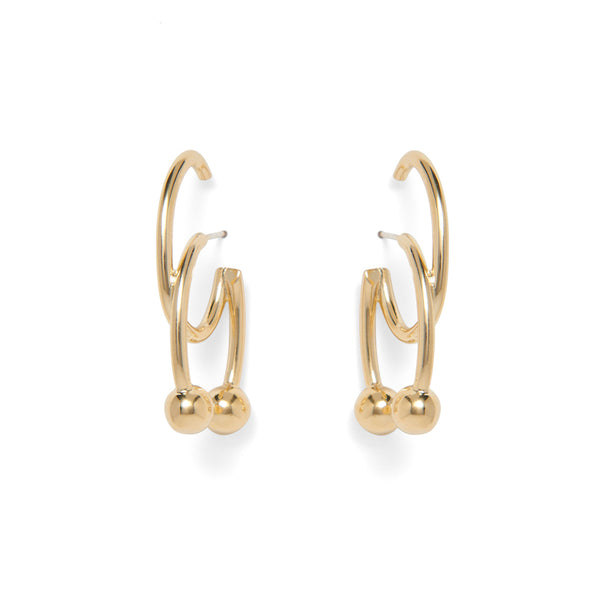 Double Barbell Earrings in Gold