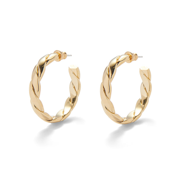 Braid Hoops in Gold
