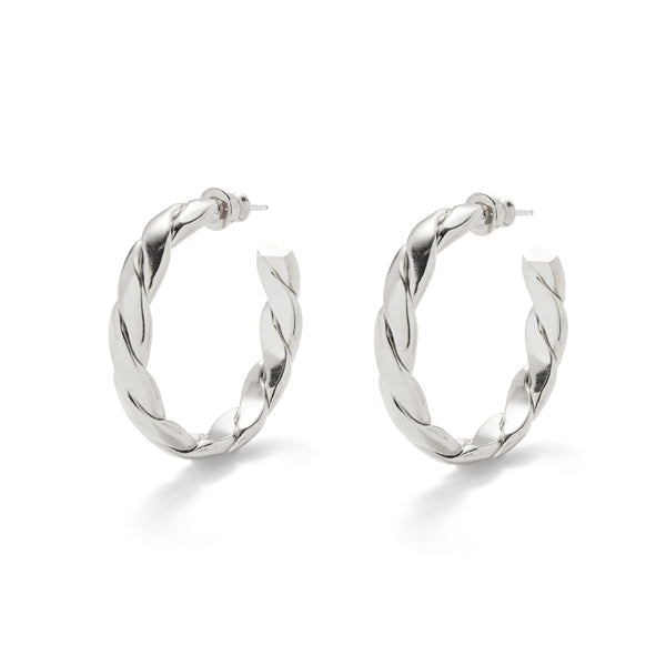 Lady Grey Braid Hoops in Silver