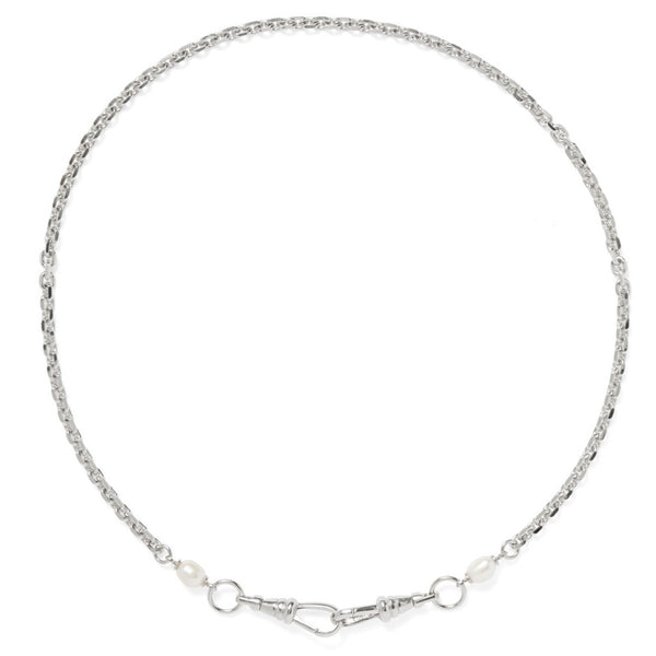 Mini Pearl Mask Chain in Silver