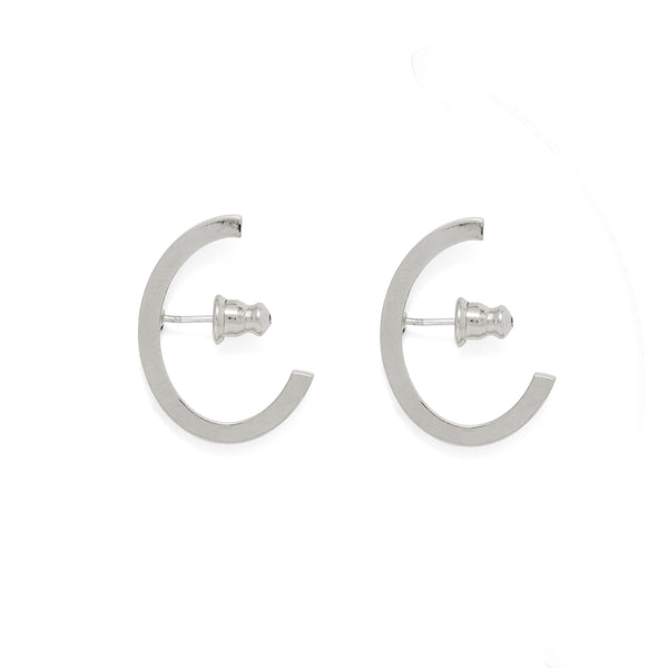 Oval Huggie Earring in Rhodium