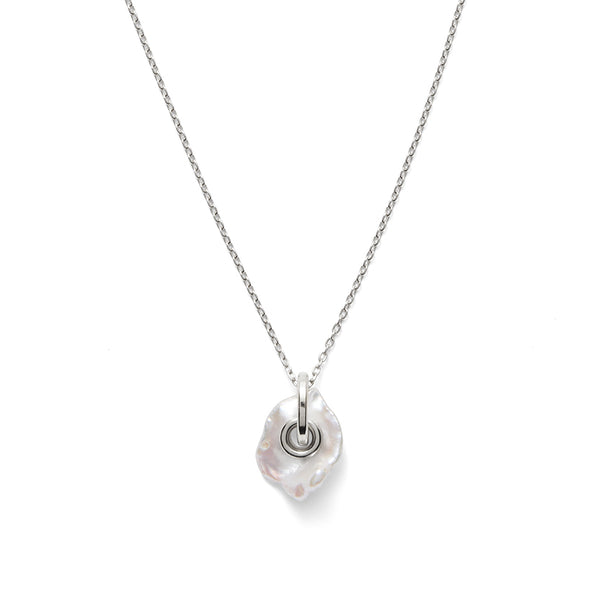 Pearl Eyelet Necklace in Silver