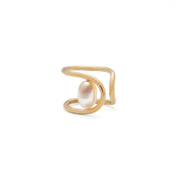 Pearl Swerve Ring in Gold