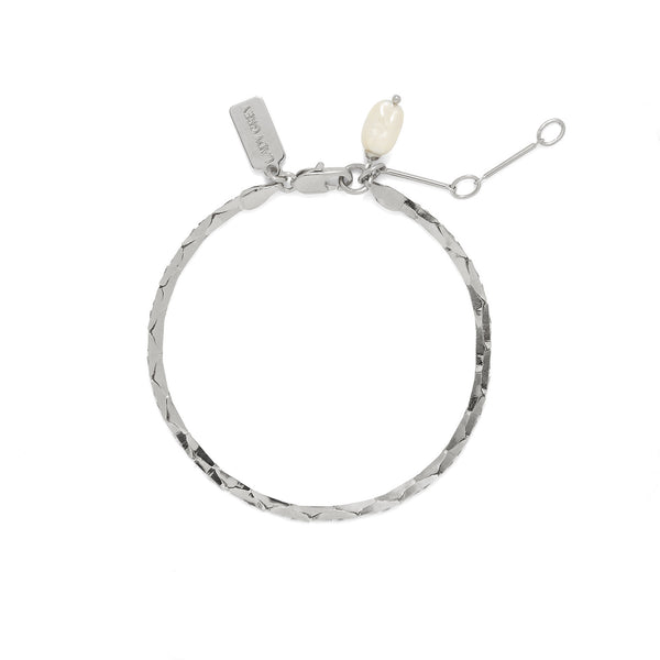 Lady Grey Jewelry Pearl Cobra Bracelet/Anklet in Rhodium
