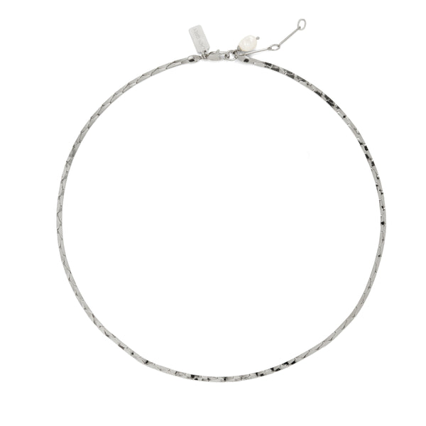 Lady Grey Jewelry Pearl Cobra Necklace in Rhodium