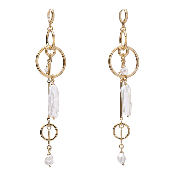 Lady Grey Jewelry Pearl Mobile Earring in Gold