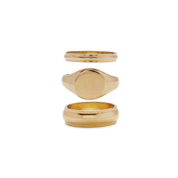 Signature Ring Set in Gold