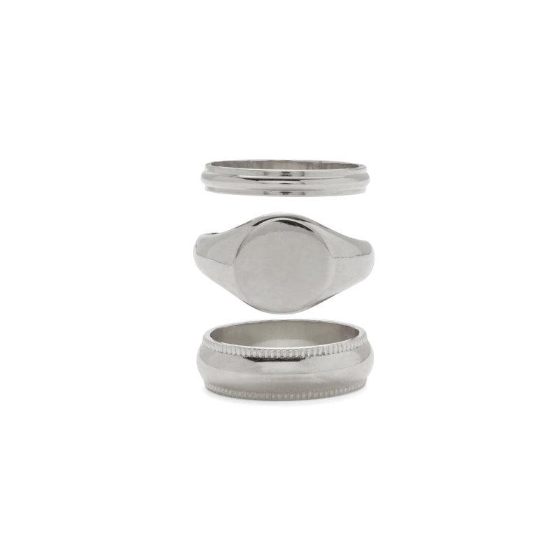 Lady Grey Jewelry Signature Ring Set i Rhodium