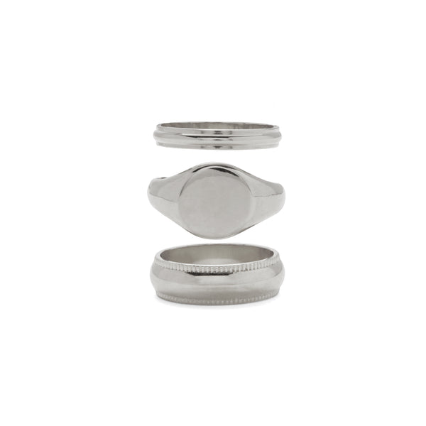 Signature Ring Set in Rhodium
