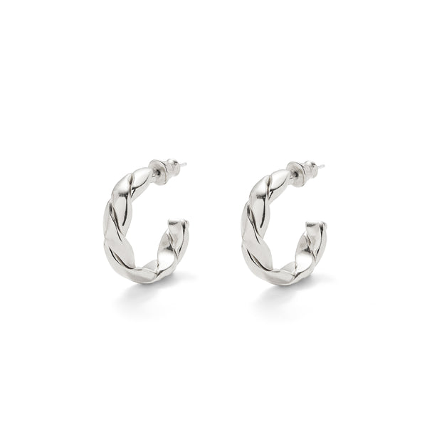 Lady Grey Small Braid Hoops in Silver