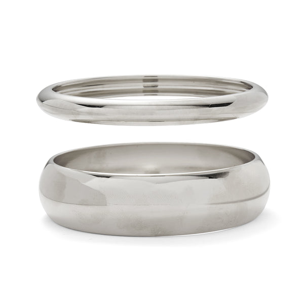 Lady Grey Dome Bangle Set in Silver