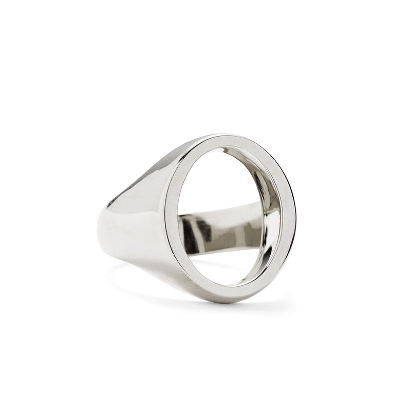 Lady Grey Open Signet Ring in Silver