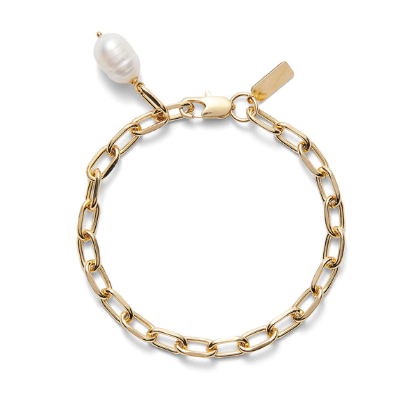 Pearl Link Bracelet in Gold