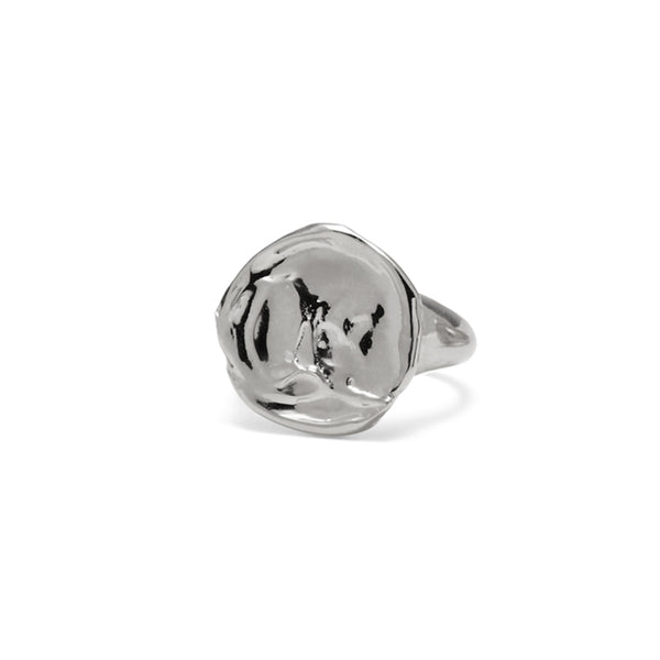 Palette Signet Ring in Rhodium