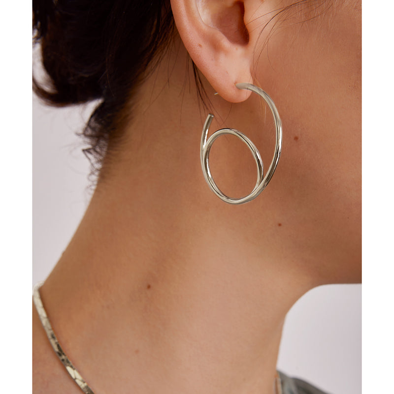 Lady Grey Jewelry Swerve Hoop in Rhodium