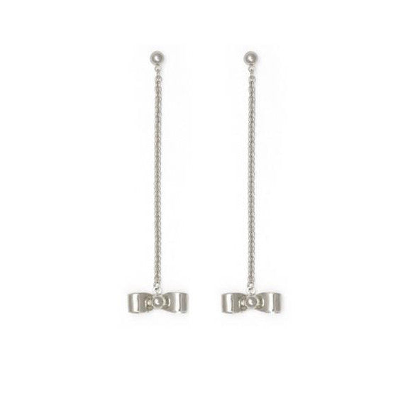 Bow Chain Earrings in Silver