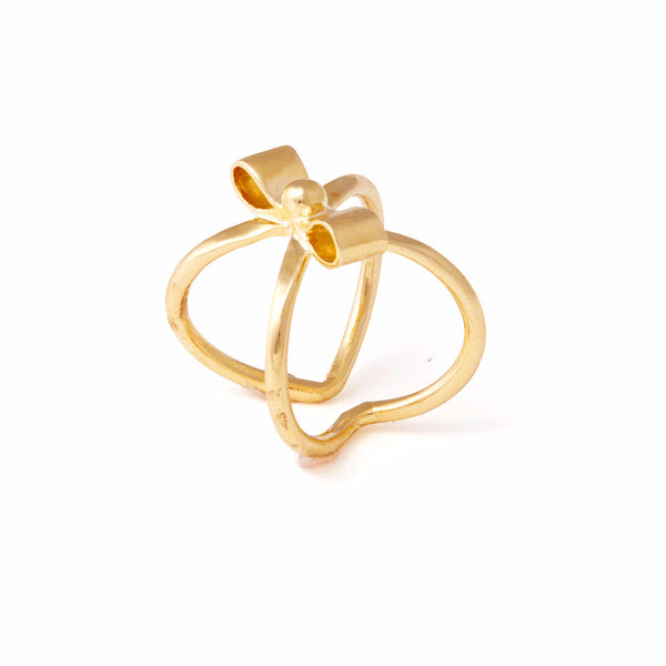 Cross Bow Ring in Gold