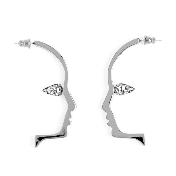Crystal Silhouette Earring in Silver