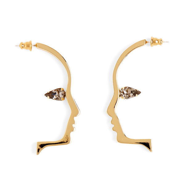 Crystal Silhouette Earring in Gold