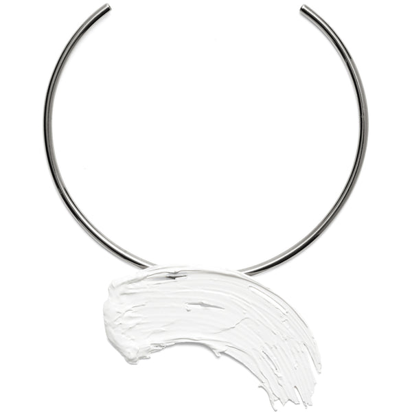 Eva Collar in Rhodium and White