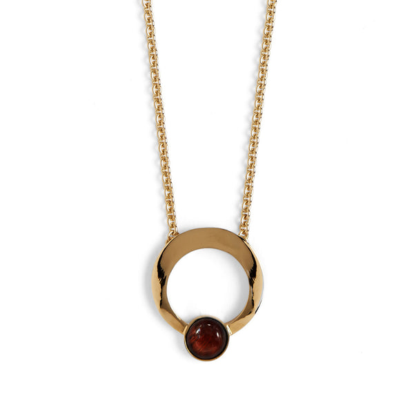 Halo Necklace with Red Tiger Eye