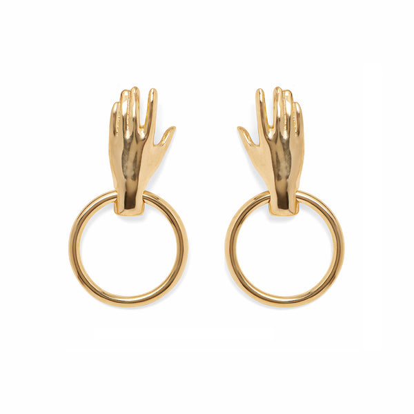 Hand Hoop Earring in Gold