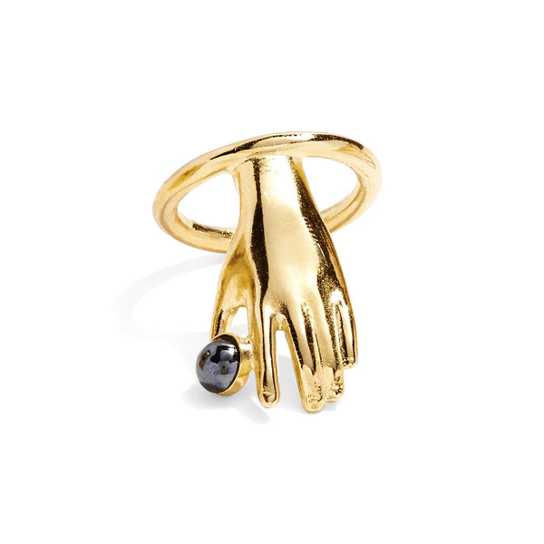 Hematite Hand Ring in Gold with Hematite
