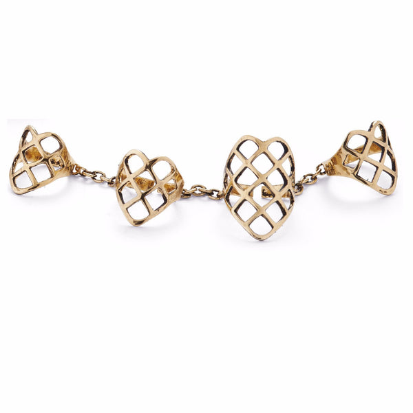 4 Finger Lattice Ring in Gold