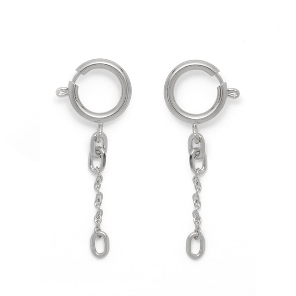 Clasp Earring in Rhodium