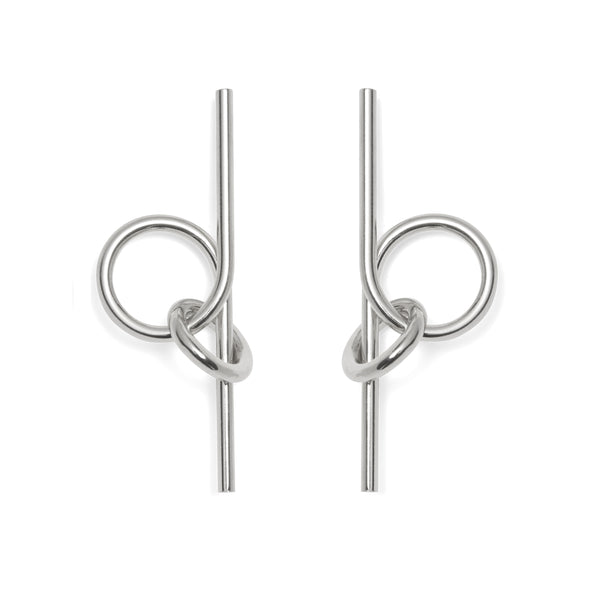 Coil Link Earrings in Rhodium