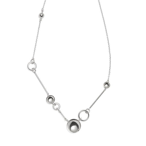 Composition Necklace in Rhodium