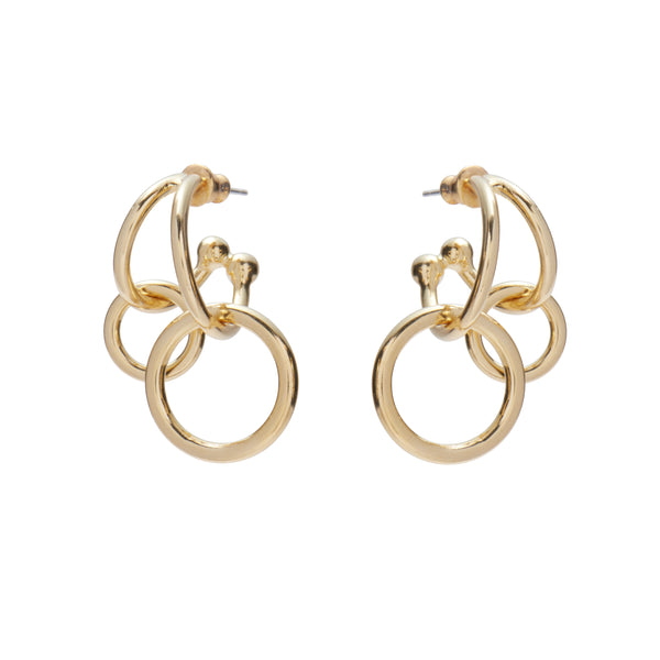 Double Link Earrings in Gold