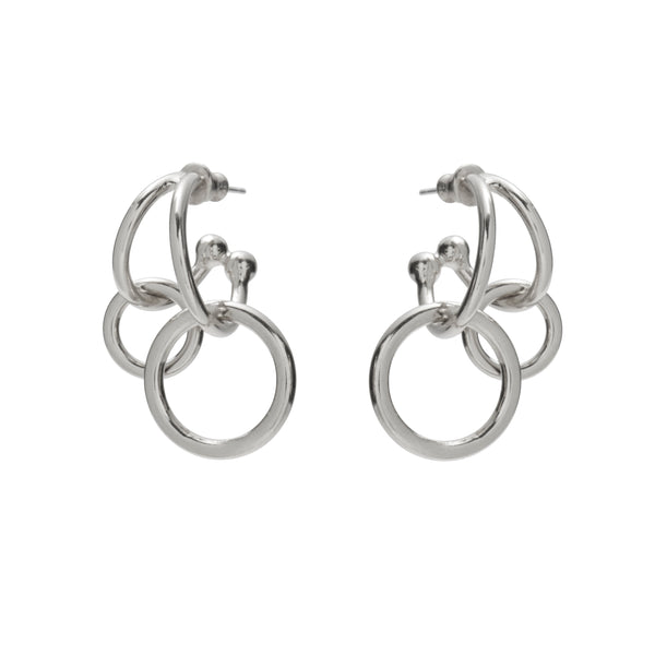 Double Link Earrings in Rhodium