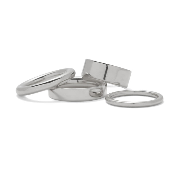 Essential Ring Set in Rhodium