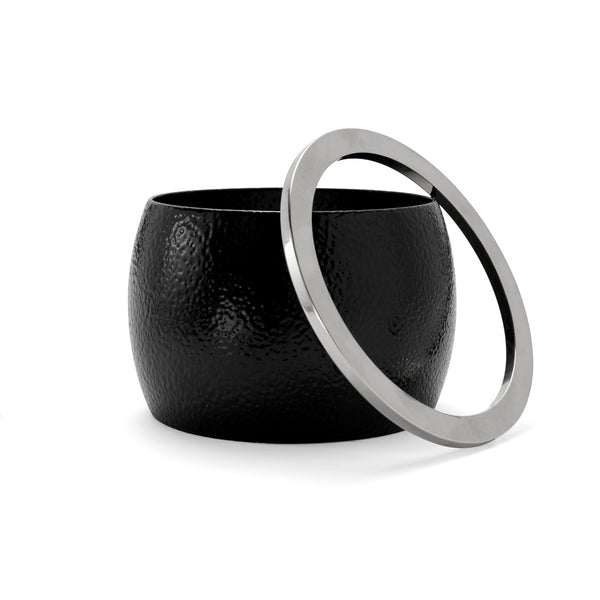 Eve Bangle Set in Black Pebble and Rhodium