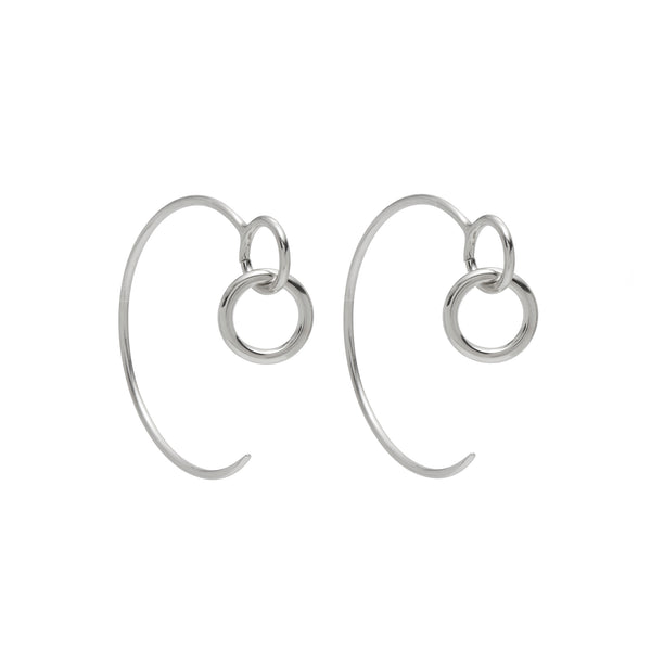 Eyelet Hoops in Rhodium