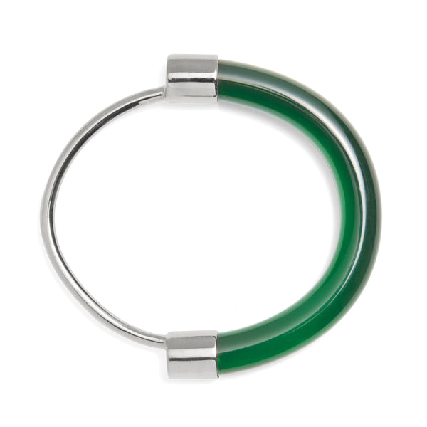 Fraction Bracelet in Rhodium and Emerald
