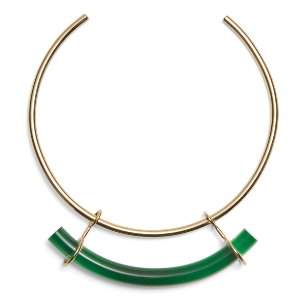 Fraction Collar in Gold and Emerald