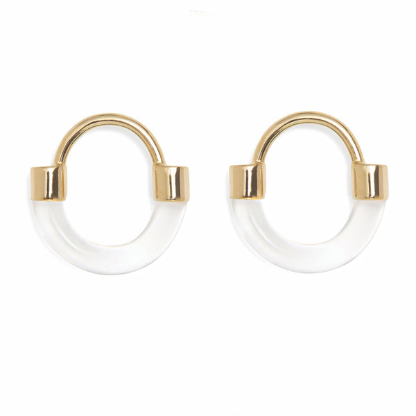 Fraction Earring in Gold and Clear