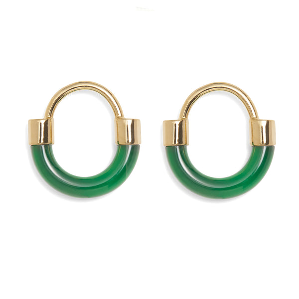 Fraction Earring in Gold and Emerald