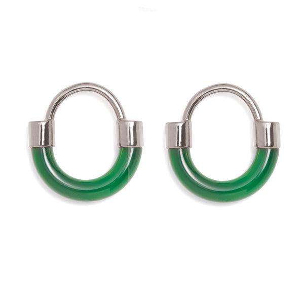 Fraction Earring in Rhodium and Emerald