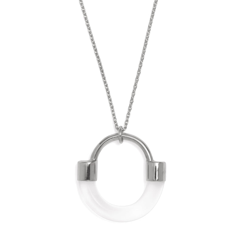 Fraction Necklace in Rhodium and Clear