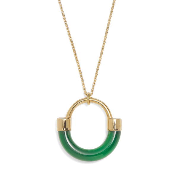 Fraction Necklace in Gold and Emerald